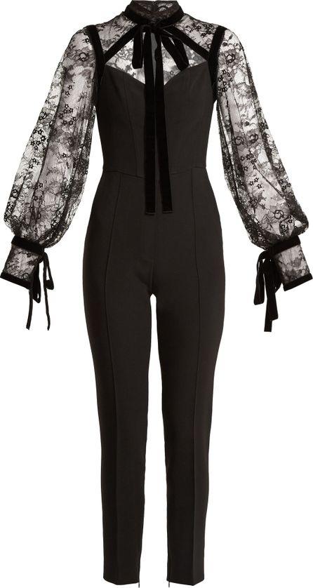 ELIE SAAB Tie-neck lace and cady jumpsuit