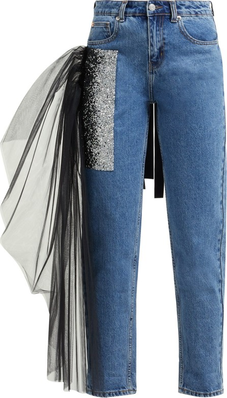 Germanier Tulle-trim crystal-embellished straight-leg jeans