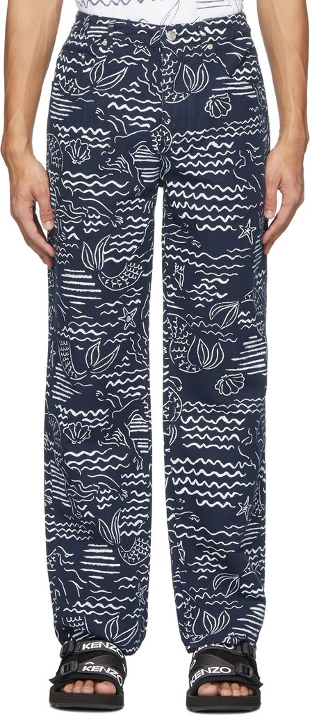 KENZO Indigo Linen Wave Mermaid Jeans