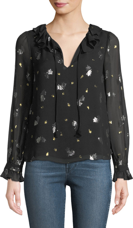 Rebecca Taylor Long-Sleeve Scattered Tulip Ruffle Top