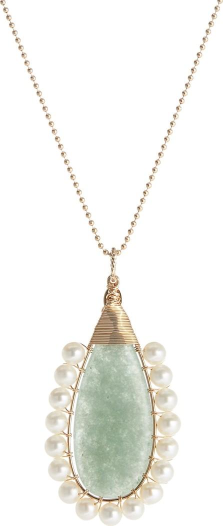 Beck Jewels Lolita Green Aventurine & Freshwater Pearl Pendant Necklace