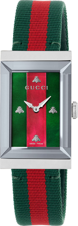 Gucci G-Frame Rectangular Striped Watch w/ Nylon Strap