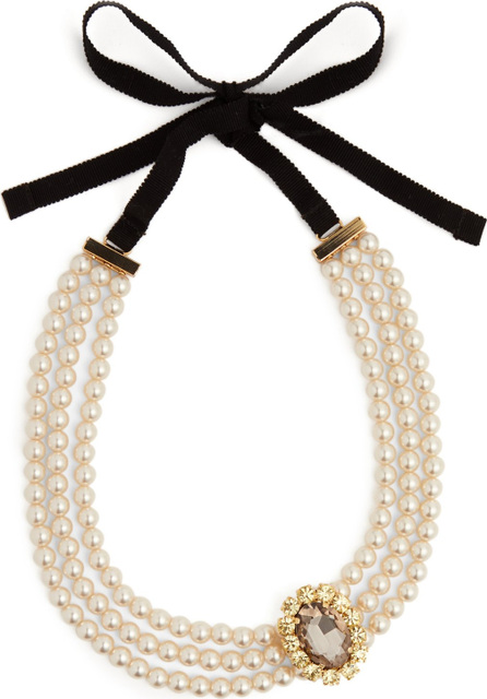 Erdem Faux-pearl and crystal embellished necklace