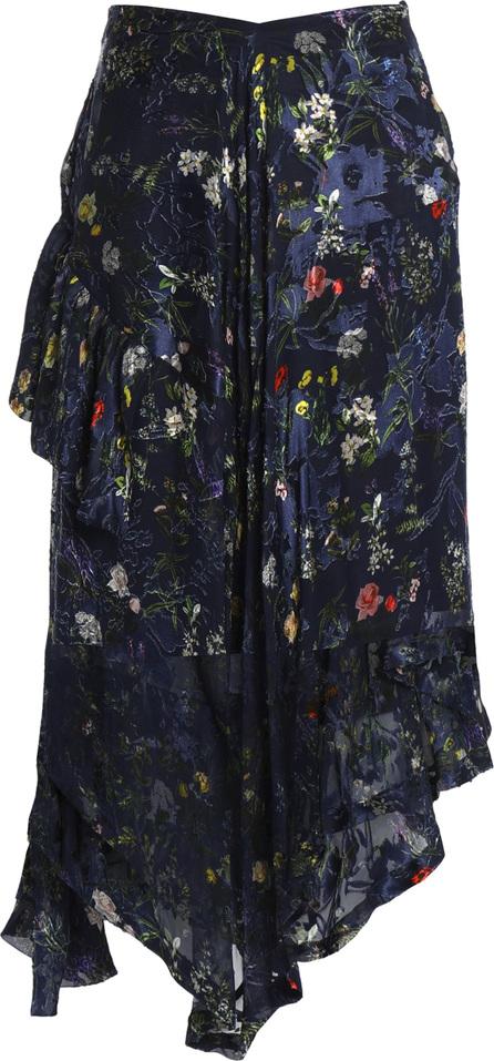 Preen Asymmetric chiffon skirt in silk blend with devoré floral print