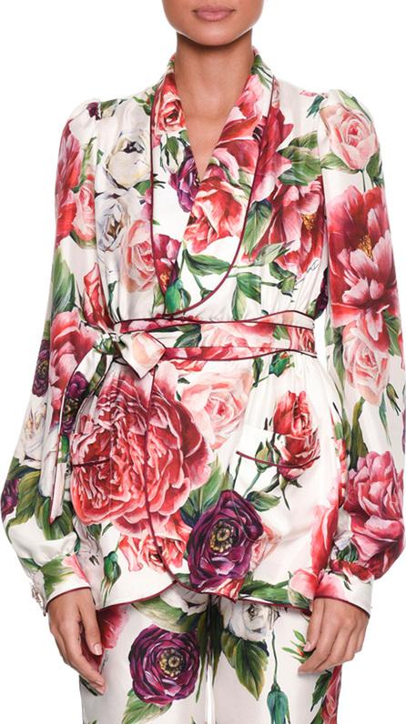 Dolce & Gabbana Long-Sleeve Rose Peony Belted Silk Pajama Top