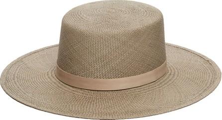 Janessa Leone Rena Panama Straw Hat w/ Leather Band