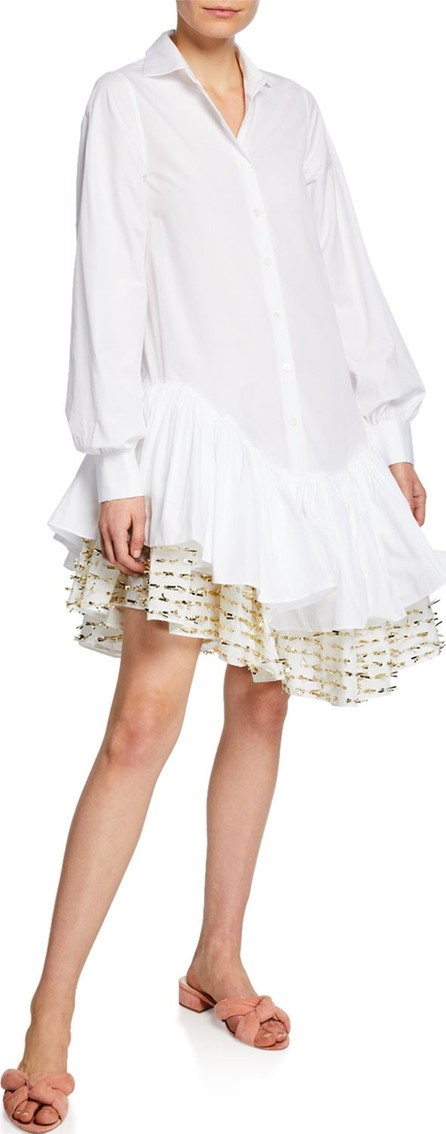 Anaïs Jourden Flouncy Asymmetrical Shirt Dress with Confetti Trim