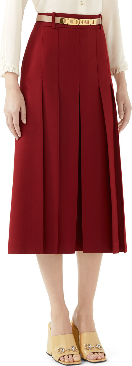 Gucci Cady Crepe Wool-Silk Pleated Skirt w/ Leather Belt