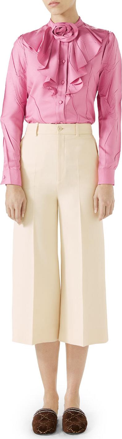 Gucci Cady Crepe Wool-Silk Gaucho Pants