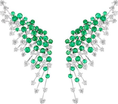 Hueb Luminus 18k White Gold Diamond & Emerald Winged Earrings