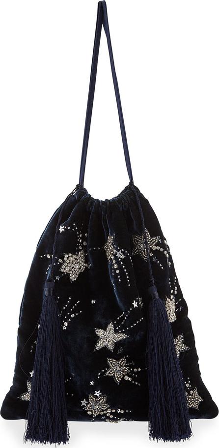 Attico Velvet Stars and Moon Pouch Bag, Blue