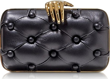 Benedetta Bruzziches Black Leather Carmen with Hand Clutch