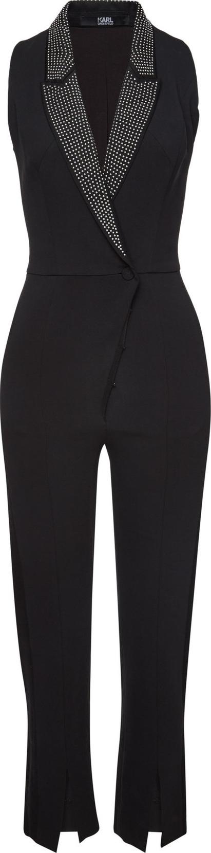 Karl Lagerfeld Crepe Jumpsuit with Embellished Lapels