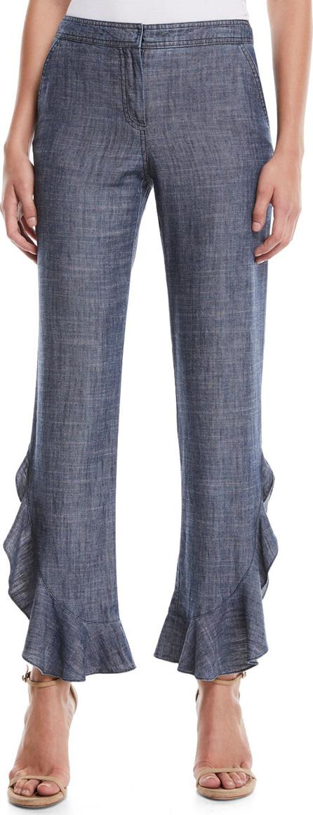 Trina Turk Zacatecas Chambray Pants w/ Ruffles