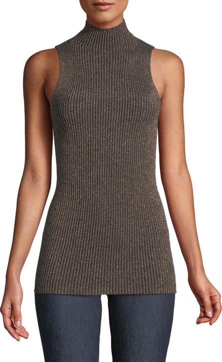 Forte Forte Ribbed Metallic Sleeveless Turtleneck Sweater