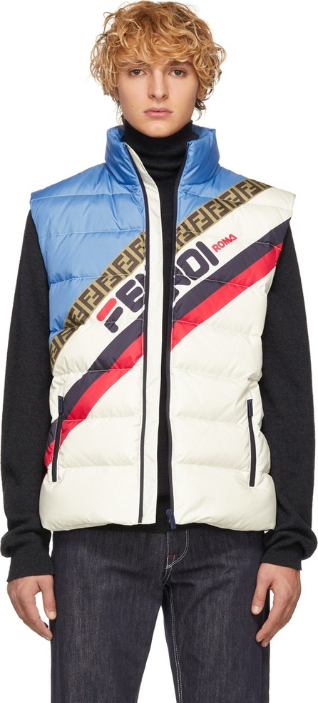 Fendi White Down 'Fendi Mania' Vest