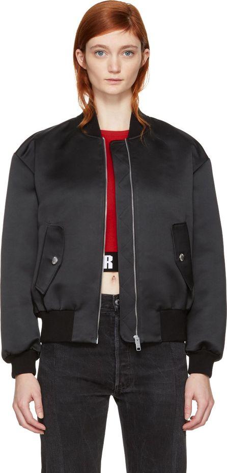 Versus Versace Black Oversized Vertical Logo Bomber Jacket