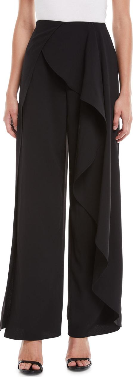 Alice + Olivia Verdell Slit Ruffle Wide-Leg Pants