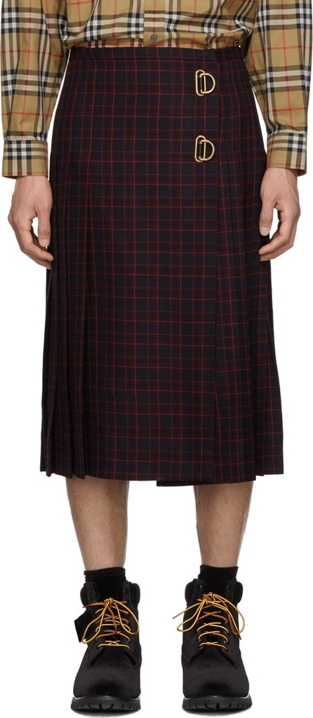 Burberry London England Navy & Red Wool Arroux Kilt