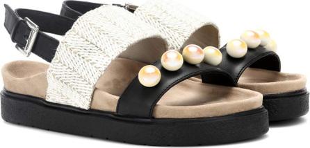INUIKII Raffia Pearl leather sandals