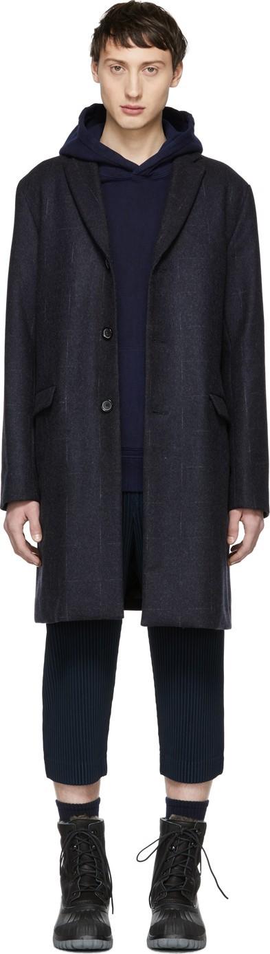 Blue Blue Japan Navy Double Weave Melton Teddy Coat