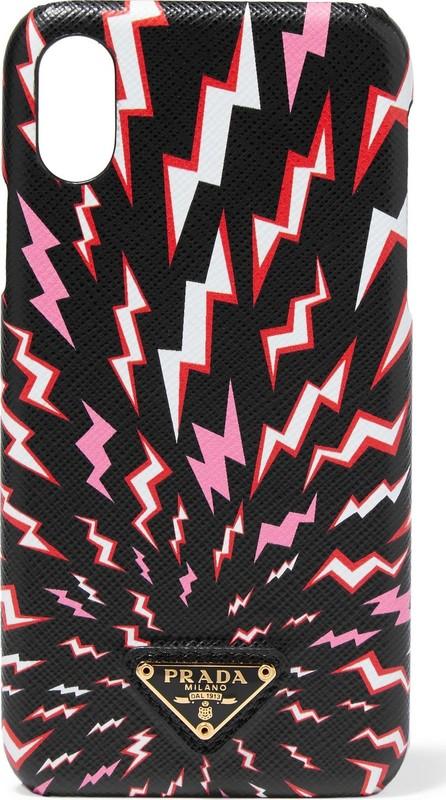 Prada Printed textured-leather iPhone X/ XS case