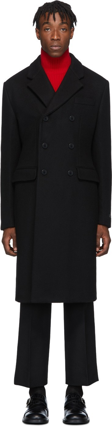 Prada Black Cashmere Double-Breasted Coat
