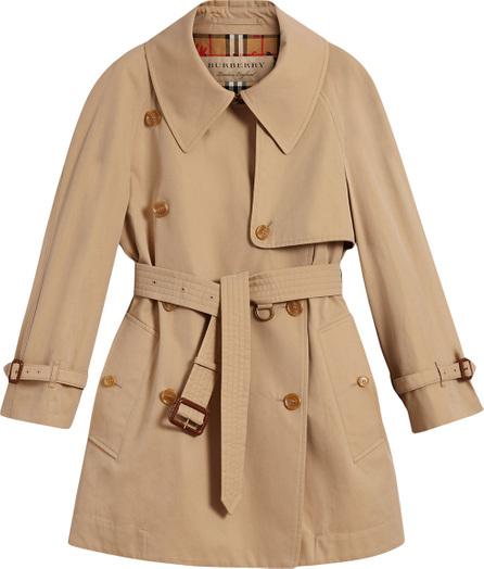 Burberry London England Exaggerated collar cotton gabardine trench coat