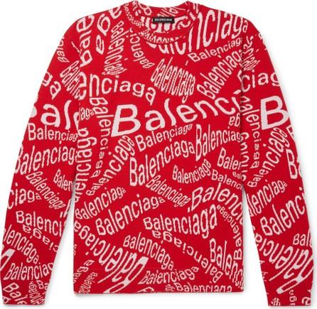 Balenciaga Logo-Intarsia Virgin Wool-Blend Sweater