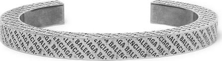 Balenciaga Logo-Engraved Silver-Tone Cuff
