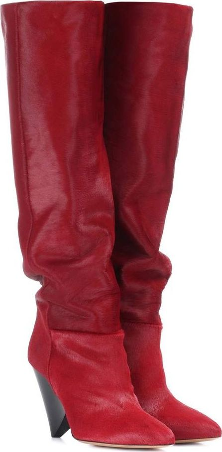 Isabel Marant Lokyo calf hair knee-high boots