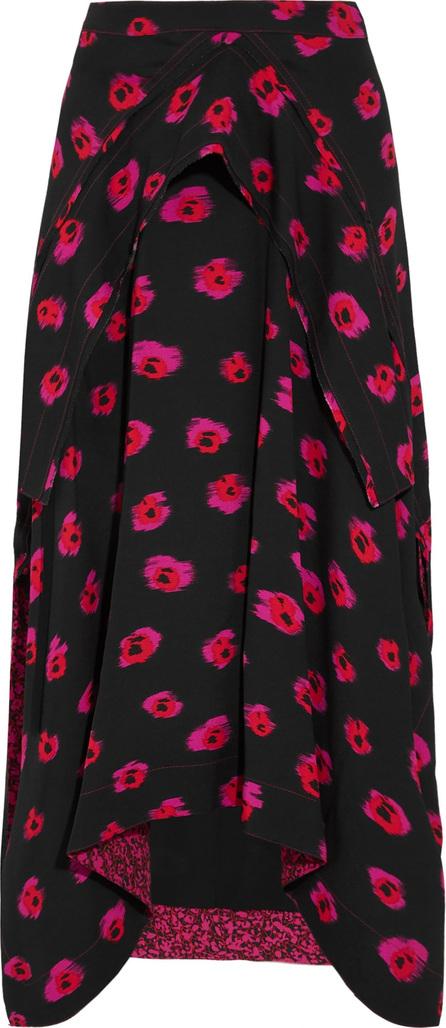 Proenza Schouler Draped printed crepe midi skirt