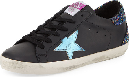 Golden Goose Deluxe Brand Superstar Leather Platform Low-Top Sneakers with Glitter Back