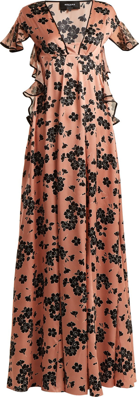 ROCHAS Floral-print ruffle-sleeved silk dress
