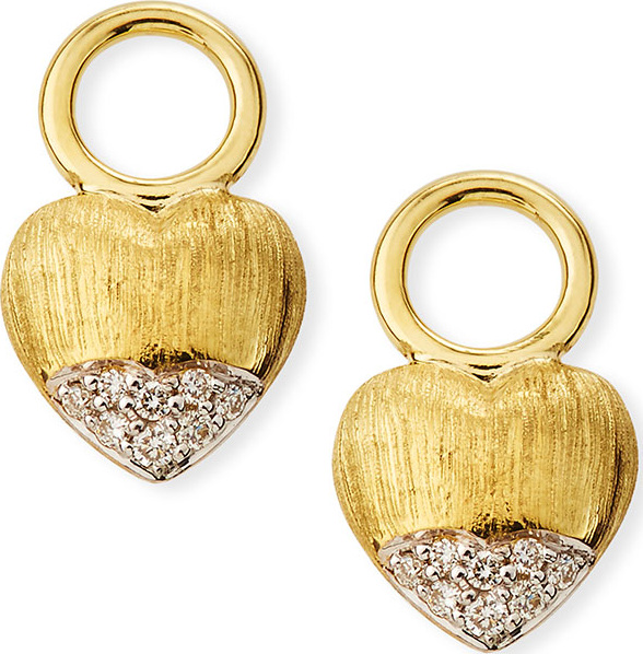 Jude Frances - Lisse 18k Puffy Heart Diamond Earring Charms
