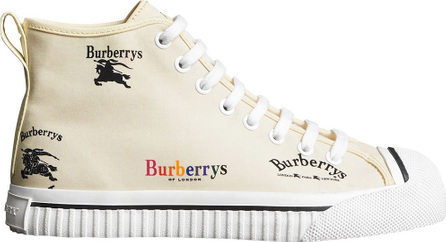 Burberry London England Archive Logo Cotton High-top Sneakers