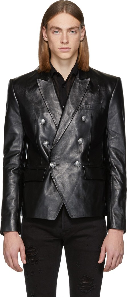 Balmain Black Leather Double-Breasted Blazer