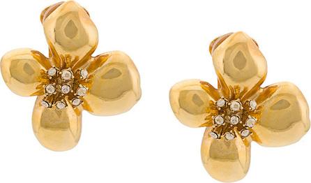 Oscar De La Renta Grapefruit flower button earrings