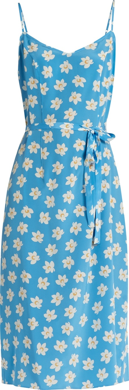 HVN Lily Falling Floral-print silk slip dress