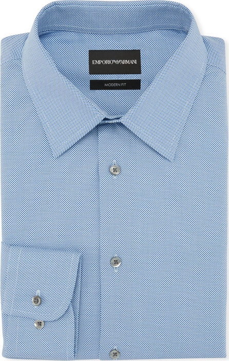 Emporio Armani Men's Modern Fit Textured Neat Cotton Dress Shirt
