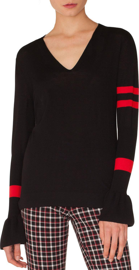 Akris Punto 3/4-Sleeve Perforated-Inset Sweater