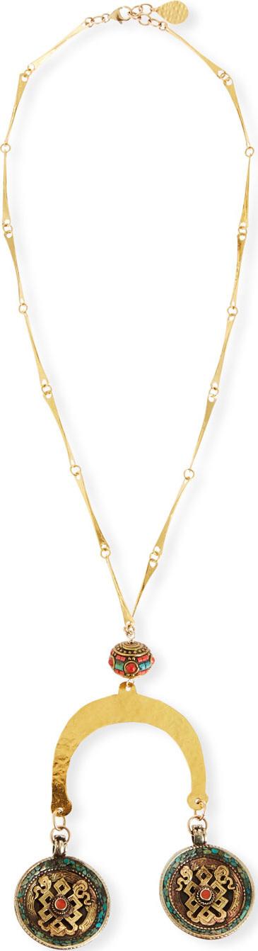 Devon Leigh Medallion Hammered Pendant Necklace