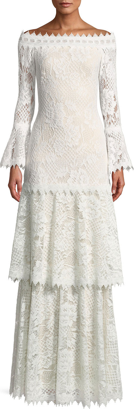 Tadashi Shoji Off-the-Shoulder Tiered Lace Gown