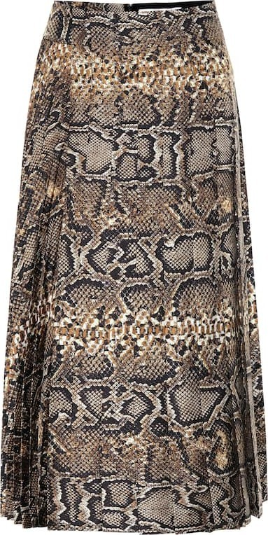 Victoria Beckham Pleated snake-effect silk skirt