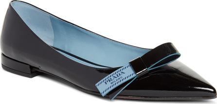 Prada Logo Bow Pointy Toe Flat
