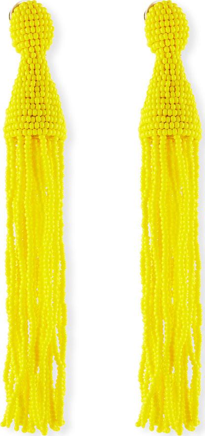 Oscar De La Renta Long Seed-Bead Tassel Clip-On Earrings