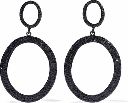 Kenneth Jay Lane Coated metal crystal hoop earrings
