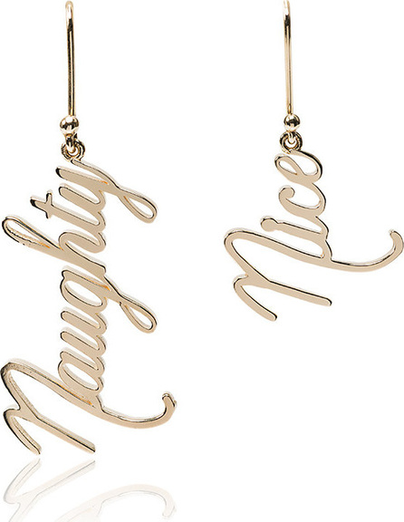 Established 14kt yellow gold Naughty and Nice earrings