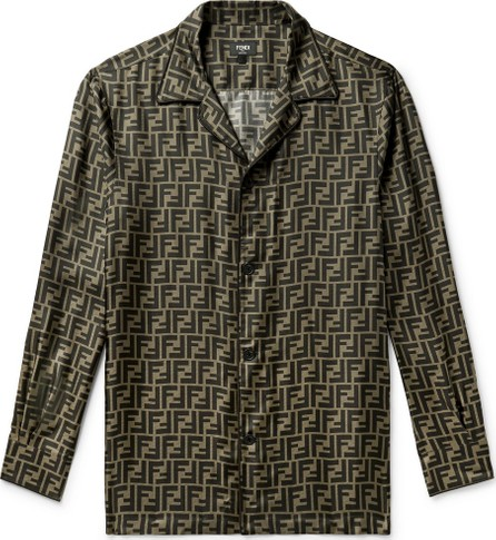 Fendi Logo-Print Silk-Satin Shirt