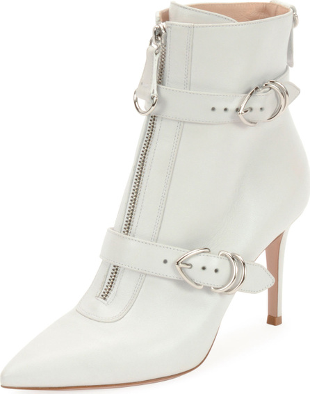 Gianvito Rossi Napa Buckled Zip-Front Ankle Bootie, White